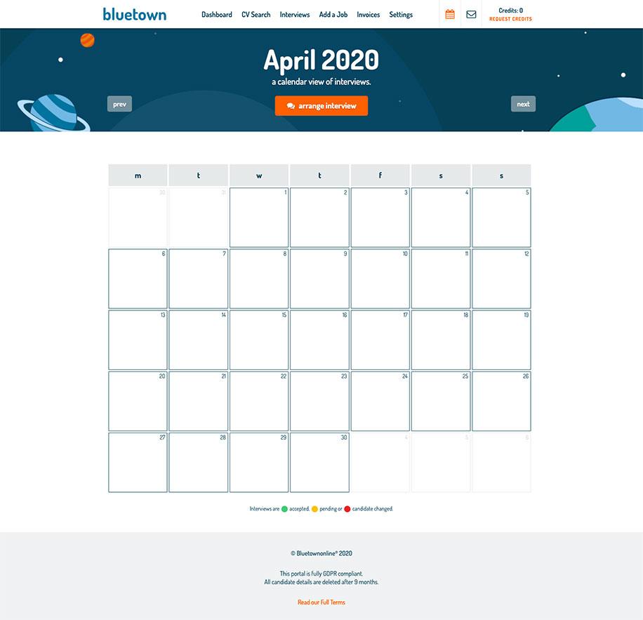 Bluetown Online Interview Calendar